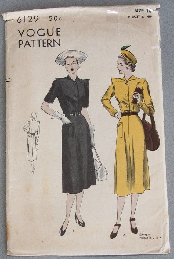 Unique Vintage Vogue 6129  Misses one piece Dress Size 16 Bust 34 Sewing Pattern