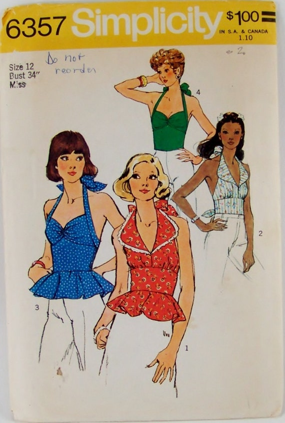 Vintage Simplicity 6357 Sewing Pattern Summer Halter Tops Size 12 Bust 34 UNcut