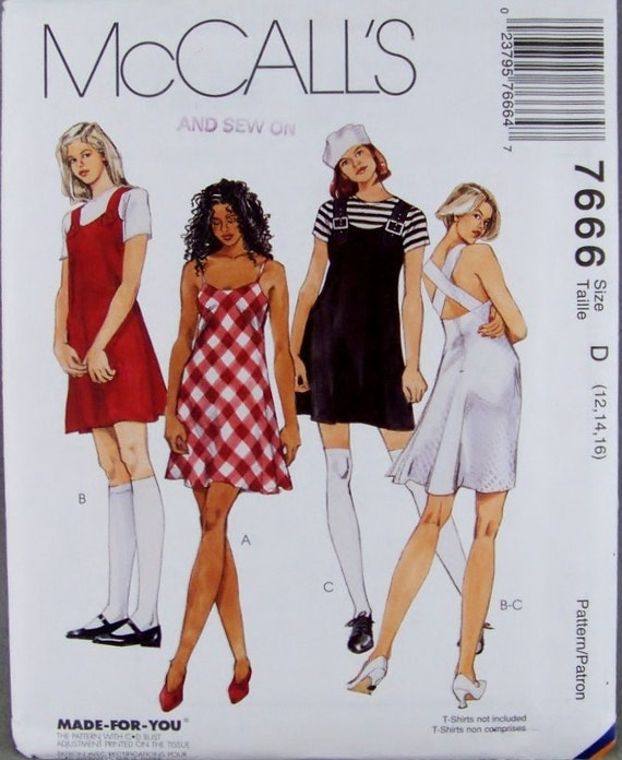 McCalls 7666 Sewing Pattern Misses Flared Mini Dress and Jumper Sz. 12, 14, 16