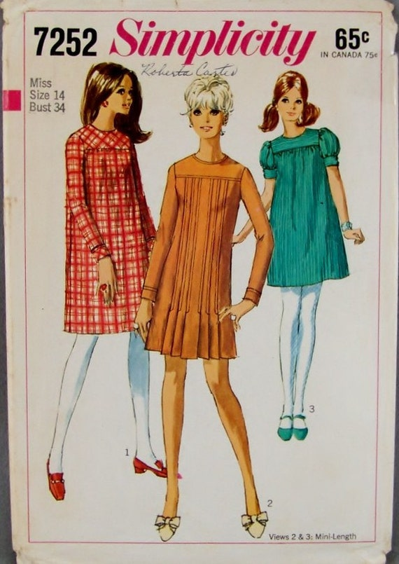 Pleated or smock type mini dress Vintage Simplicity 7252 Sewing PatternSize 14 Bust 34