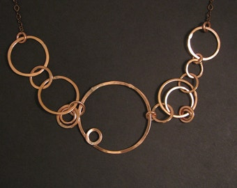 Copper Necklace - Asymmetrical Design - hand forged copper jewelry - made in my studio in Tx- handmade in Austin, Tx