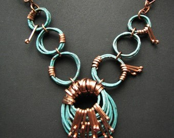Patina Necklace - Plumage - Oxidized Copper - Copper jewelry - handmade in my studio
