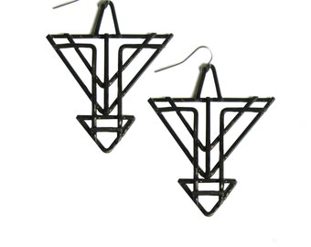 Geometric Arrow Earrings - Art Deco Arrows - made from scratch in my studio from copper wire - chemically blackened and sealed