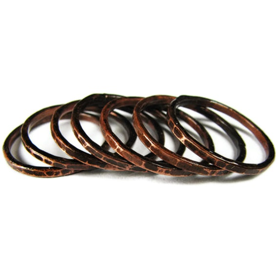 Copper Stack Rings  - SEVEN Oxidized Rings - Hammered -  Dark Oxidation - Sealed - handmade in Austin, Tx