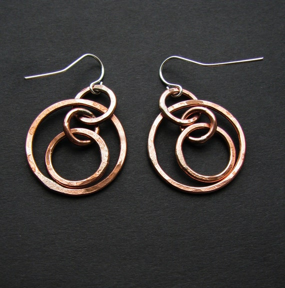 Copper hoop earrings - Astronomical - Astrolabe Sundial Jewelry -  Petite Armillary Earrings - Shiny finish - hand forged