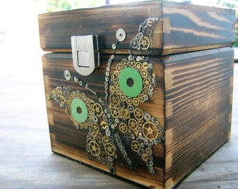 Steampunk Butterfly Wooden Box purse - All vintage watch pieces