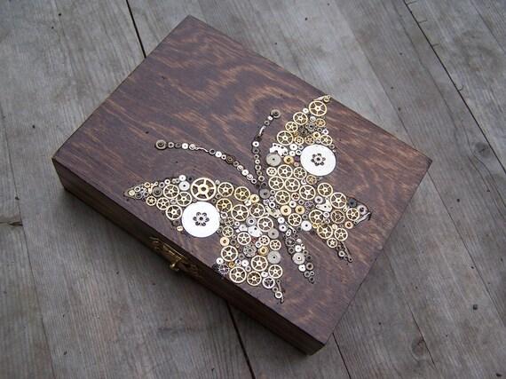 Wooden Trinket  box - Steampunk Butterfly