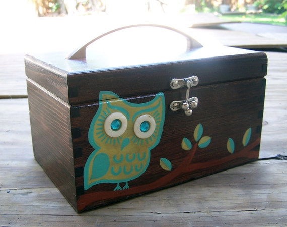 Large Wooden Box Purse - Retro Owl