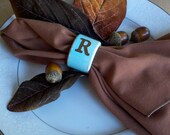 Monogrammed napkin rings, set of 4, robins egg blue and 25 other colors