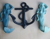 Mermaid hooks, anchor hook, summer home and garden, beach style, in your choice of colors