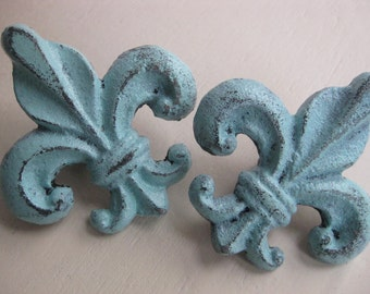 fleur de lis knobs, set of 2, available in robins egg blue, many colors