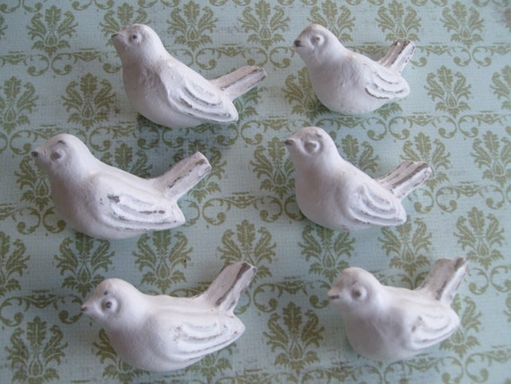 6 bird knobs best seller furniture knobs drawer pulls shabby cottage chic chic nursery decorative interior decorator design BeachHouseDreams