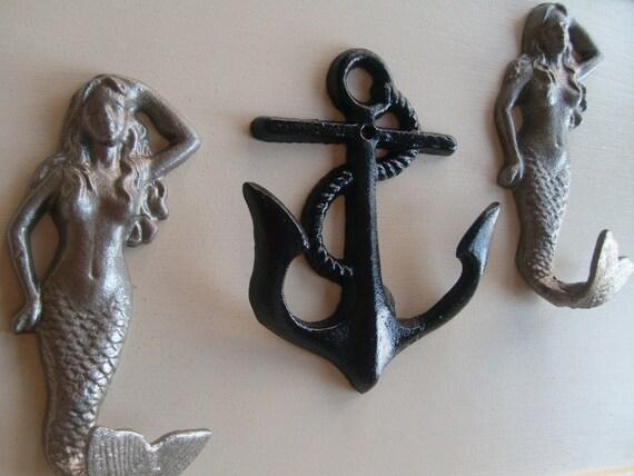 2 mermaids anchor beach home decor storage organization beach towel rack outdoor shower pool hot tub nautical cottage BeachHouseDreamsHome