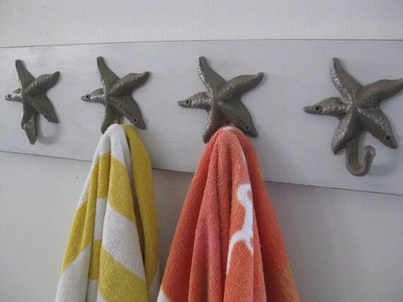 Coastal Towel Racks For Bathroom: Coat Rack Foyer Entryway Starfish Sand Dollar Wall Hooks Towel