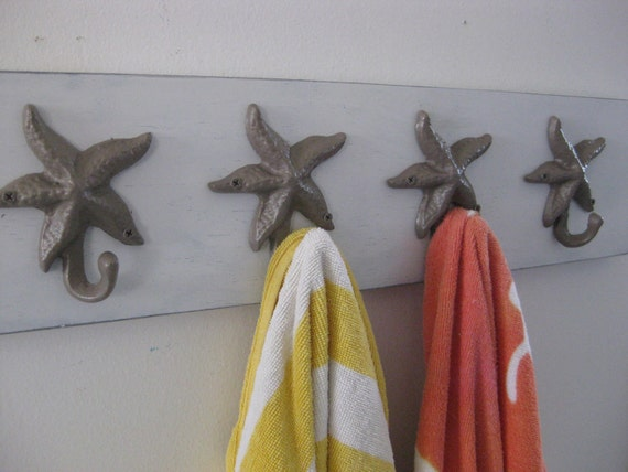 4 Hook Beach Towel Rack Starfish Seahorse Sand By