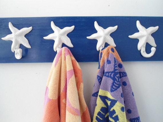 starfish hooks, towel rack, beach towel storage, pool towels, distressed wood, cottage chic, wood