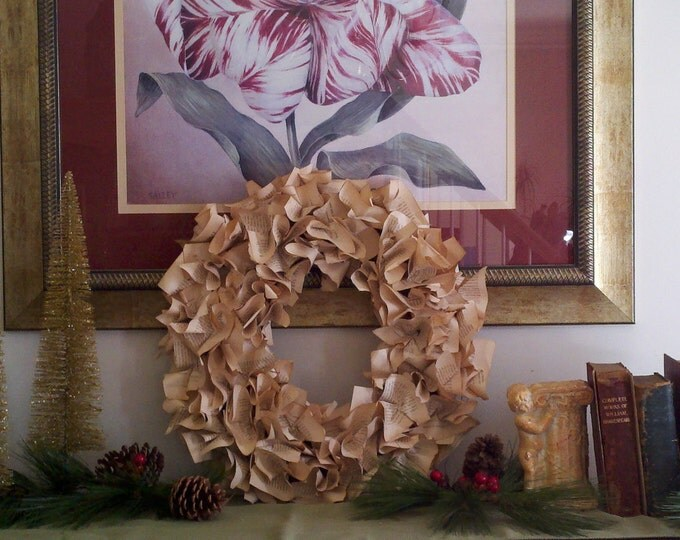 Vintage book pages wreath antique law book professor teacher judge lawyer paralegal assistant valentine office library BeachHouseDreams OBX