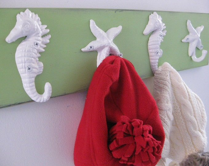 coat rack scarf organizer hat rack starfish seahorses towel rack nautical decor wall art interior design coastal living BeachHouseDreamsHome