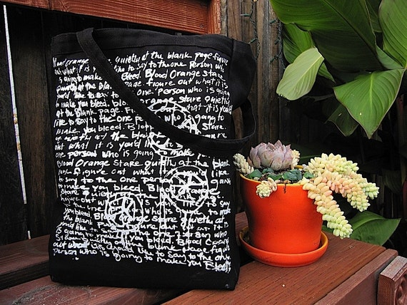 BLOOD ORANGE Hand silkscreened Black TOTE