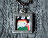 your child portrait in mini necklace