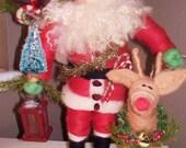 Santa and Rudolph Felted Wool Santa