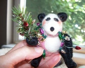 Panda in Christmas Lights Wool Wrapped and Felted Ornament