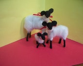 Suffolk Sheep Felted Wool Family
