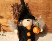 Witchy Witch Wool Halloween Decoration 4""