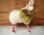 Wool Candycane Legs Wool Wrapped/Needle Felted Sheep Ornament