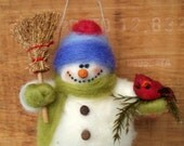 Barry the Snowman Wool Wrapped/Needle Felted Ornament