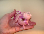 When Pigs Fly Pink Needle Felted Christmas Ornament