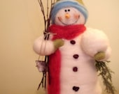 """Stuart the Snowman 13"""" Wool Wrapped/Needle Felted - NEW"""
