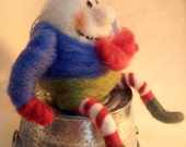 Humpty Dumpty Wool Wrapped/Needle Felted Ornament