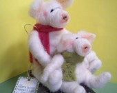 Pig and Piglet on Sled Felted Wool Ornament