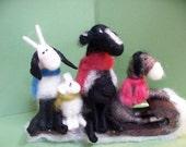 Barnyard Buddies Felted Wool Animals on Toboggan Ornament