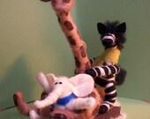 Sledding Safari Felted Wool Ornament - NEW for 2012