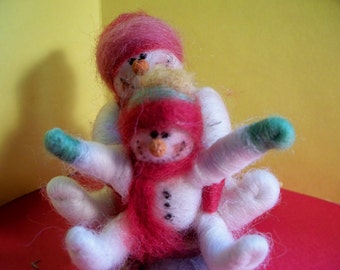 Mom and Baby Wool Snowmen on Sled Ornament
