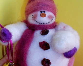 Wool Snowman with Bell and Snowball Ornament