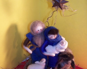 Nativity 6 Piece  with Felted  Wool Figures