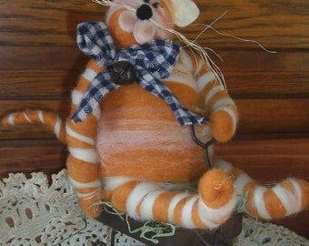 Fat Cat on Wagon Wool Sculpture