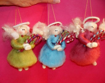Felted Wool Christmas Angel Ornament
