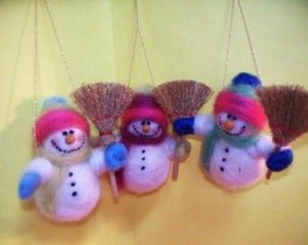 Mini Wool Snowman Ornament