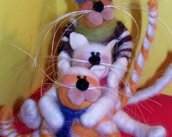 Three Felted Wool Kittens on Sled Ornament