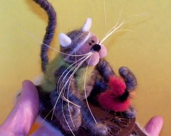 Wool Cat and Cardinal Sledding Buddies Felted Wool Ornament