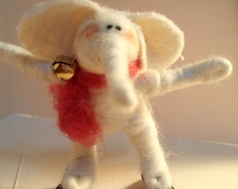 Elephant on Skates Needle Felted Wool Ornament