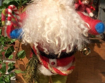 "Once Upon A Christmas Santa Wool Wrapped and Needlefelted 16"" Figurine"