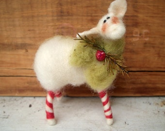 Wool Candycane Legs Wool Wrapped/Needle Felted Sheep Ornament as Featured in Mary Janes Farm Magazine Dec./Jan. 2017 issue!