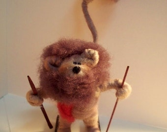 Lion on Skis Wool Wrapped/Needle Felted Ornament