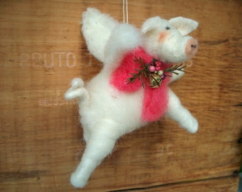 When Pigs Fly Wool Wrapped/Needle Felted Ornament
