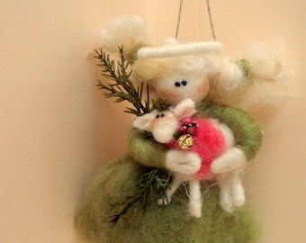 Cathy's Guardian Angel Wool Wrapped/Needle Felted Christmas Ornament
